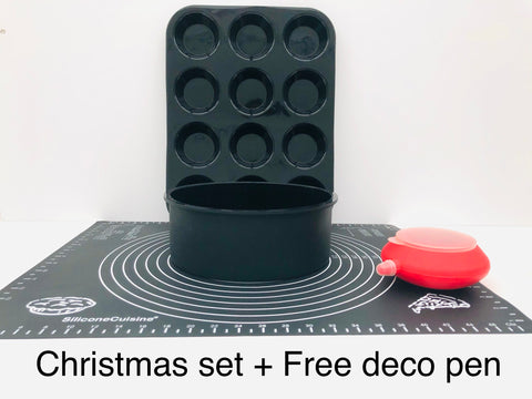 3pc  Christmas Easy Baking Set 2lb cake size + Free Decorating Pen.