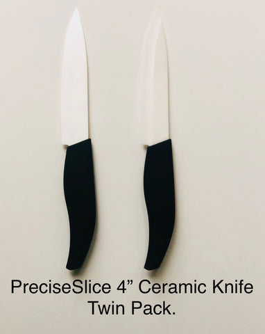 "PreciseSlice 4"" Ceramic Fruit + Veg Knife. Twin Pack."