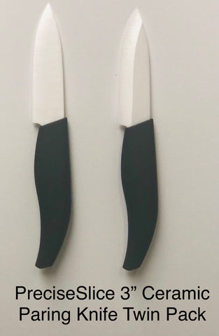 "PreciseSlice 3"" Ceramic Pairing Knife Twin Pack."