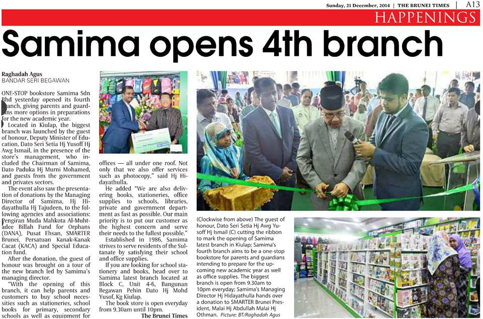 Brunei Times article about the opening of our 4th branch
