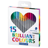 STAEDTLER TRIPLUS FINELINER BRILLIANT COLOURS 15'S
