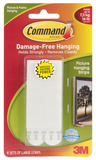 3M COMMAND LARGE PICTURE HANGING STRIPS WHITE 4 SETS-PKG 17206