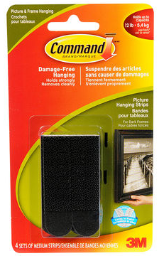 3M Command Picture Hanging Strips - Med/Black - 17201BLK-C