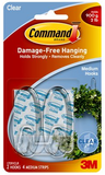 3M Command Med Clear Hook Clear Strips 17091CLR