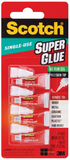 3M Scotch Single Use Super Glue No-Run Gel (SGAD-929) - 4 tubes of 0.5g per pack