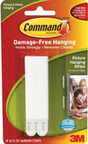 3M COMMAND NARROW PICTURE HANGING STRIPS WHITE 4 SETS 17207