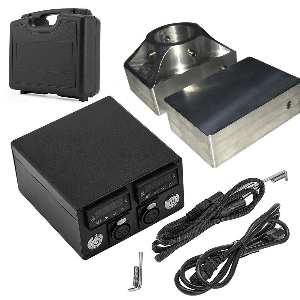 Tuopuke RK02 Solid Rosin Plate Kits with Dual Plates, Dual Heaters, Dual Temp Sensors, Temperature Control Box - Pair With A or H Hydraulic Press