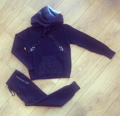 Navy Effie Knitted Tracksuit