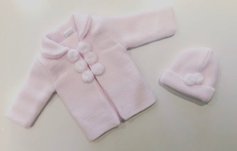 Pink Pom Pom Knitted Coat & Hat Set