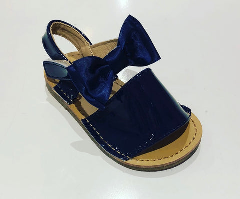 Navy Bow Sandals