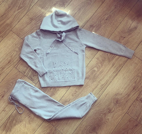 Grey Effie Knitted Tracksuit