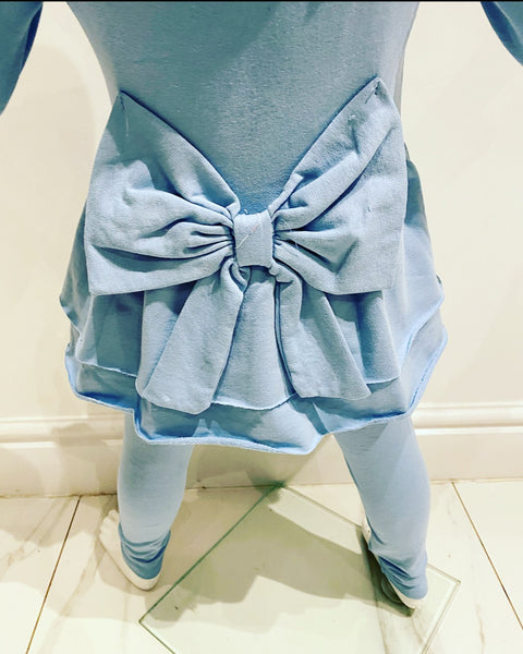 Blue Roslyn Bow Back Leggings Set