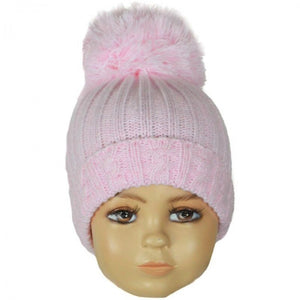 Pink Large Pom Cable Knitted Hat