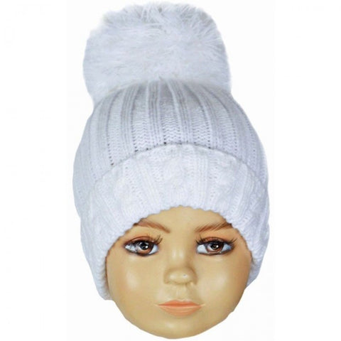 White Large Pom Cable Knitted Hat
