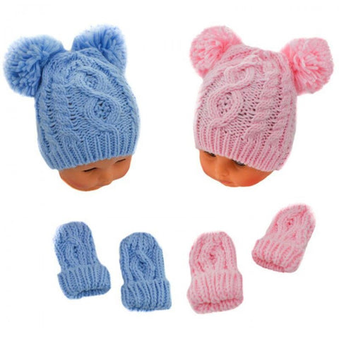 Double Pom Pom Knitted Hat & Mittens Set