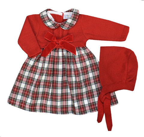 Holly Tartan Dress with Bonnet