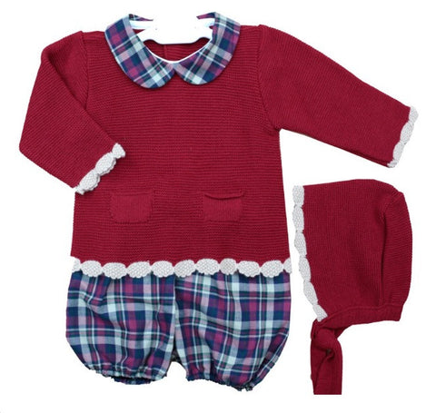 Red Jorge Shorts Set with Bonnet