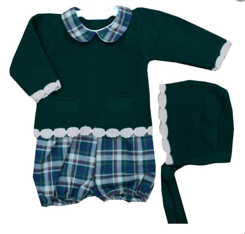 Green Jorge Shorts Set with Bonnet