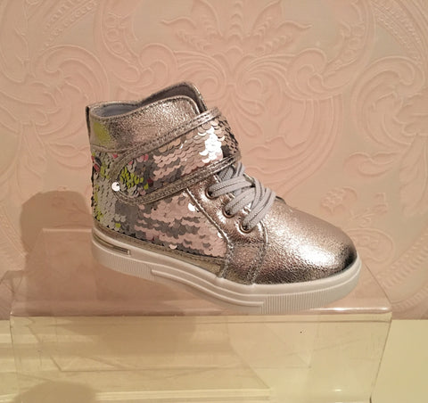 Silver Aria Sequin High Tops