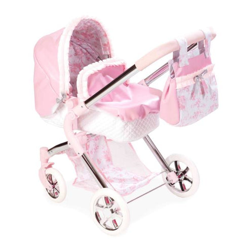 Valentina 3x 1 Pink Collapsible Dolls Pram/Pushchair