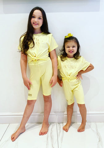 Yellow Vogue Tie Top Shorts Set