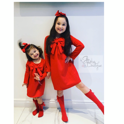 Red Celia Bow Dress