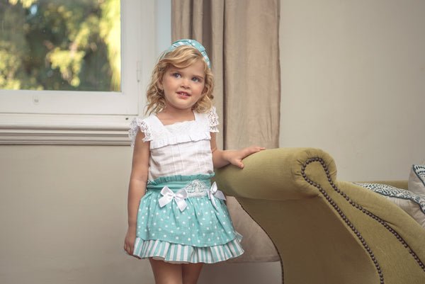 Miranda Girls Green Spotted Skirt Set