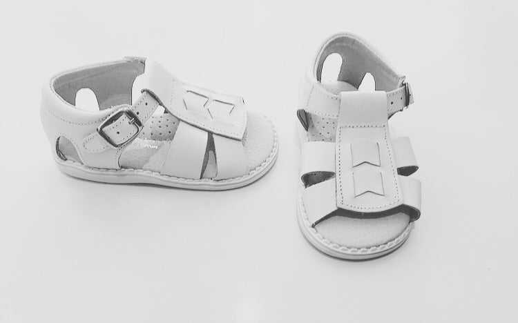 White Leather Open Toe Sandals