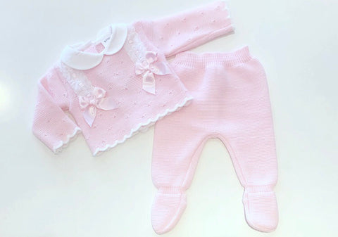 Pink Calida Knitted Bow Pants Set