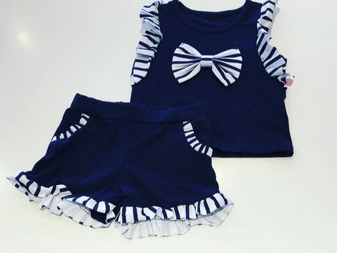 Navy Jasmine Bow Shorts Set