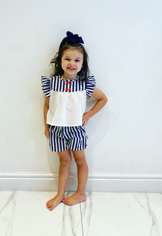 Navy Thea Shorts Set