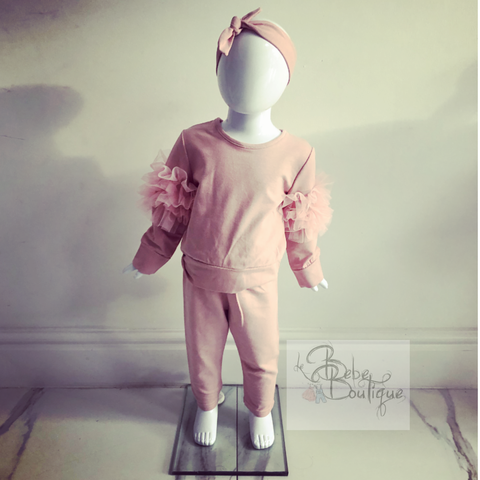 Pink Lucia Ruffle Tracksuit With Headband (Baby Sizes)