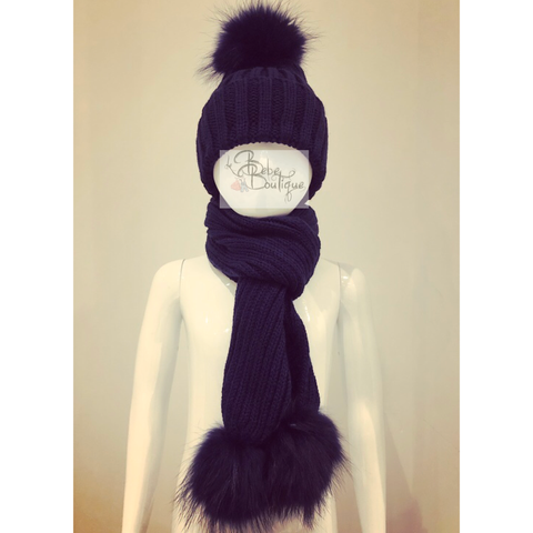 Navy Ellis Fur Pom Hat & Scarf Set