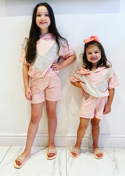 Pink Celine Shorts Set