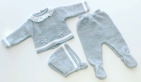 Grey Elia 3 Piece Knitted Pants Set