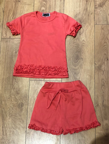 Coral Ruffle Shorts Set
