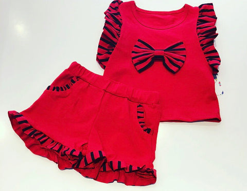 Red Jasmine Bow Shorts Set