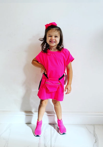 Pink Lucille Dress with Belt Bag