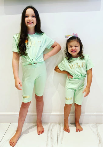 Mint Vogue Tie Top Shorts Set
