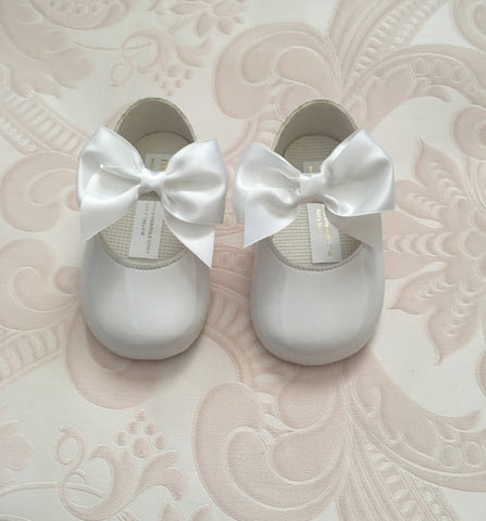 White Alessia Bow Pram Shoes