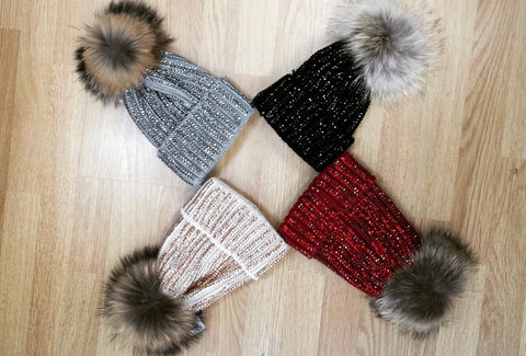 Diamond Pom Pom Fur Hat