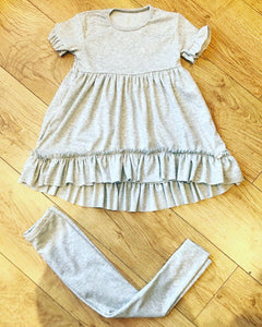 Grey Lavanya Ruffle Pants Set
