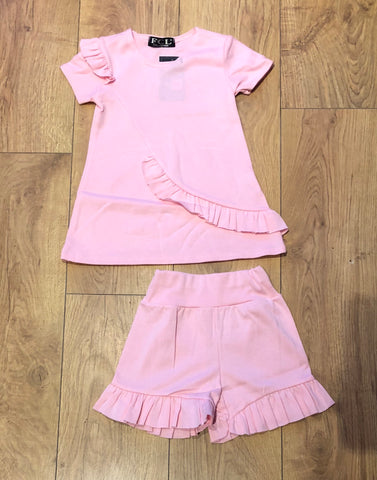 Pink Fifi Frill Shorts Set