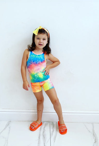 Blue/Green Ambra Shorts Set with Headband