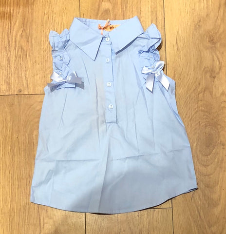 Blue Ruffle Shoulder Shirt
