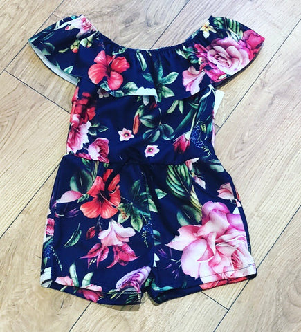 Navy Lacey Flower Playsuit