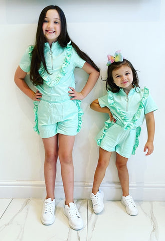 Mint Eloisa Ruffle Shorts Set