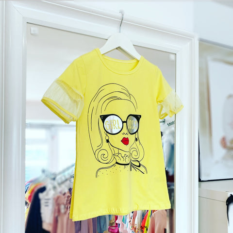 Yellow Girl Boss TShirt Dress
