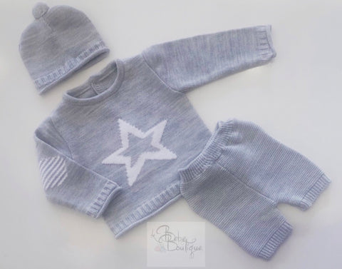 Grey Star 3 Piece Knitted Set