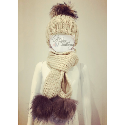 Camel Ellis Fur Pom Hat & Scarf Set